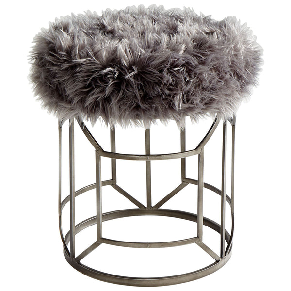 Ushanka Iron Gray Faux Fur Upholstered Stool