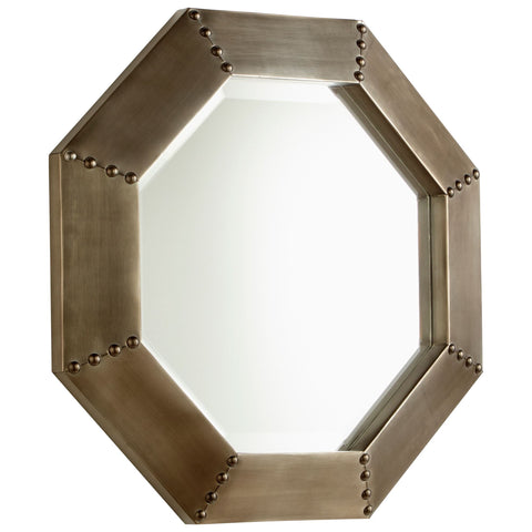 Small Octagon Burnished Silver Wall Mirror by Cyan Design