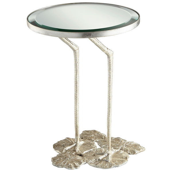 Struz Silver Leaf and Glass Round Accent Table