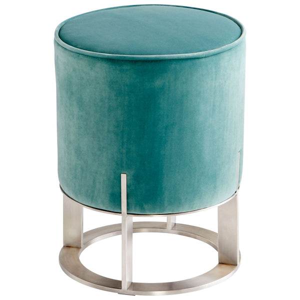 Opal Throne Contemporary Teal Velvet and Stainless Steel Round Ottoman