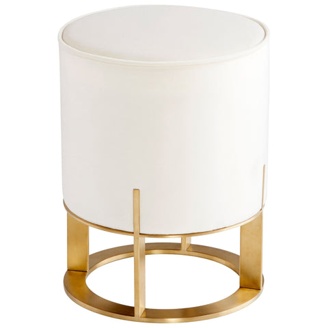 Opal Throne Contemporary Off-white Velvet and Brushed Brass Round Ottoman by Cyan Design