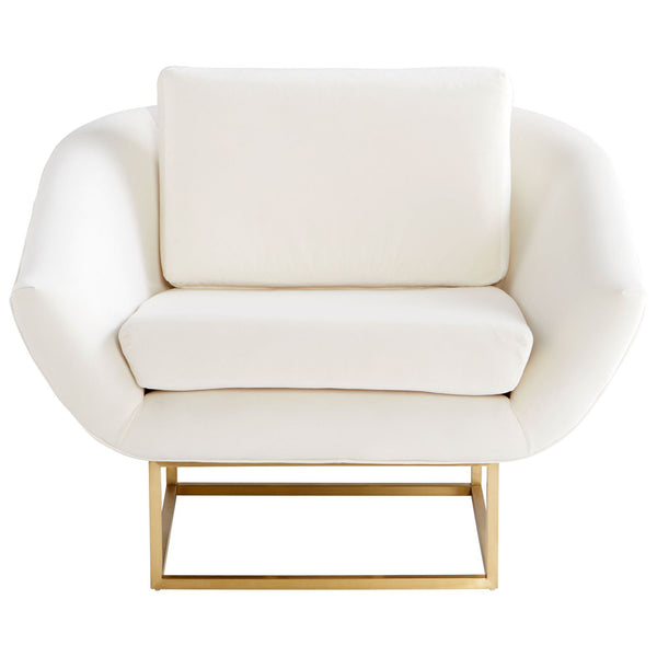 Shiva Mid-century Modern Off-white and Brushed Brass Accent Chair by Cyan Design