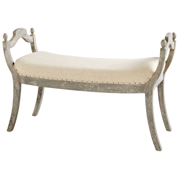 Alice Farmhouse Off-white Upholstered Weathered Gray Bench