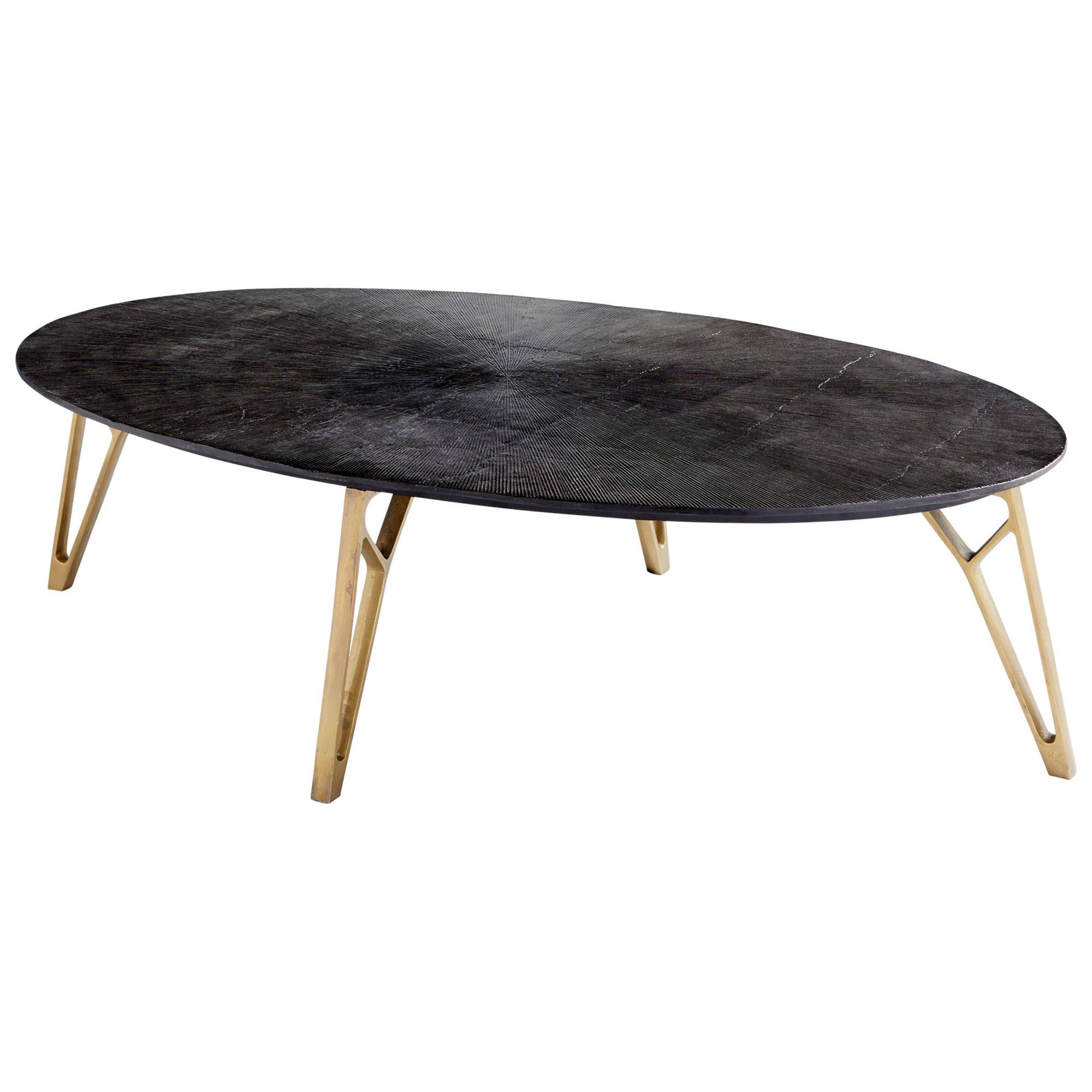 Oval Mid Century Modern Bronze And Brass Coffee Table