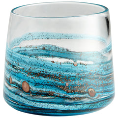 Rogue Contemporary Sky Blue and Copper Swirled Art Glass Vase by Cyan Design