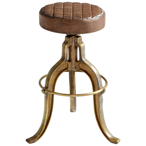 Abbey Aged Brass and Cinnamon Leather Adjustable Bar or Counter Stool by Cyan Design