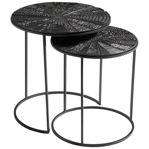 Quantum Contemporary Bronze and Black Iron Nesting Tables,  2-Piece Set by Cyan Design