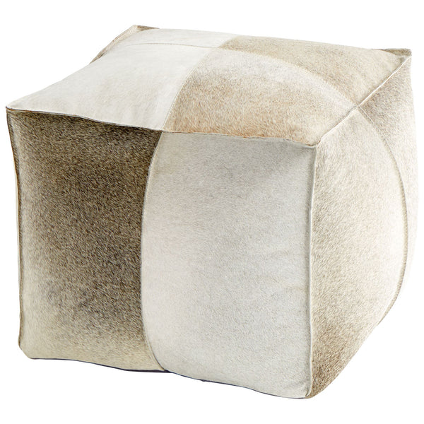 Brixton Transitional Tan & Gray Hair On Leather Pouf Ottoman by Cyan Design