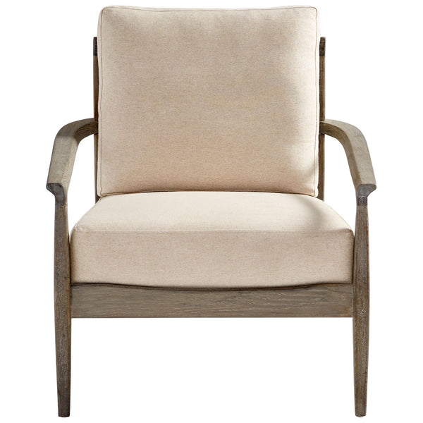 Astoria Contemporary Weathered Oak and Light Beige Accent Chair by Cyan Design