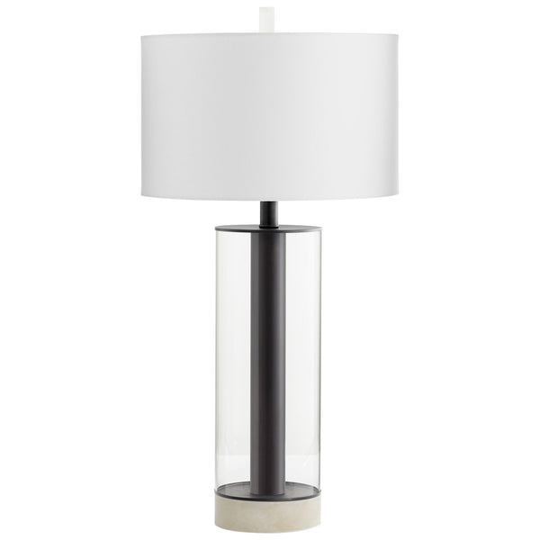 Messier Contemporary Gunmetal Iron, Glass and Marble Table Lamp by Cyan Design