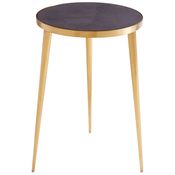 Bremen Mid-century Modern Gold and Black Concrete Round Accent Table