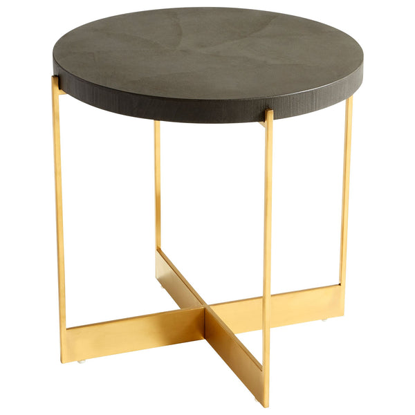 Duomo Contemporary Gold Round Accent Table with Black Concrete Top