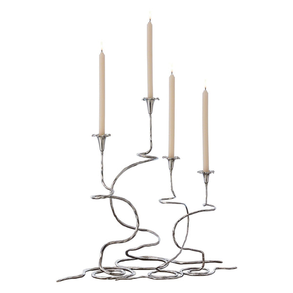 Morning Glory Nickel Candleholders, 2-Piece Set