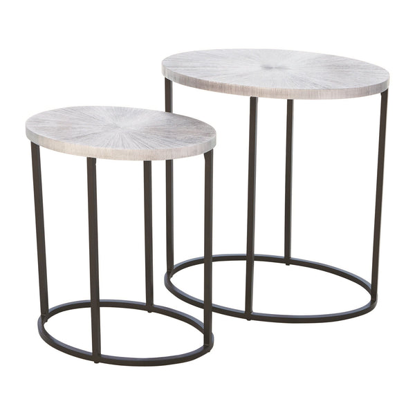 Striated Contemporary Small Nickel Oval Accent Table