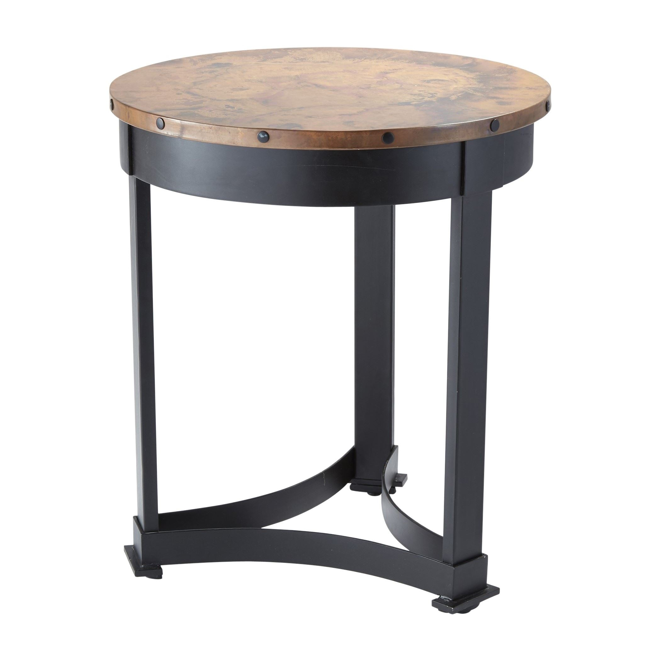 - Classic Wrought Iron And Copper Round Accent Table Innovations