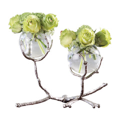 Twig Nickel and Glass Two Vase Holder by Global Views