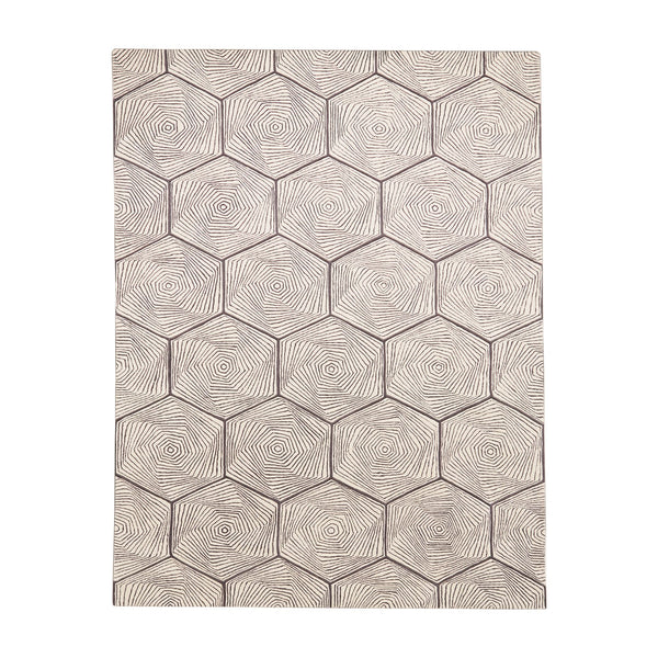 Hex Swirl Contemporary 5'x8' Ivory and Gray Area Rug