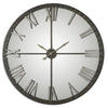 Amelie Transitional Large Rustic Bronze Mirrored Wall Clock