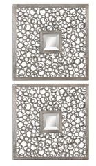 Colusa Contemporary Antiqued Silver Mirror Squares, Set of 2 by Uttermost