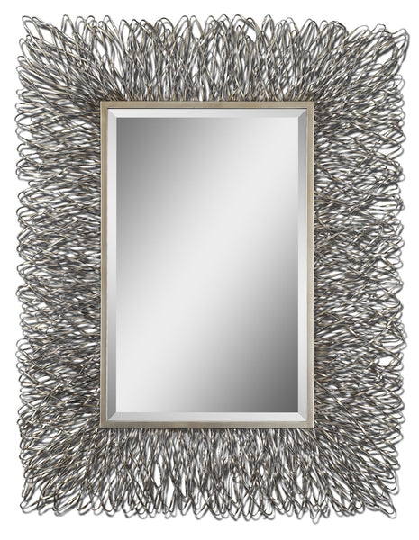 Corbis Contemporary Hand Forged Silver Rectangular  Wall Mirror