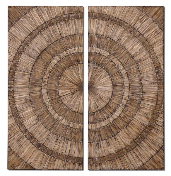 Lanciano Rustic Burnished Wood Wall Art, 2-Piece Set
