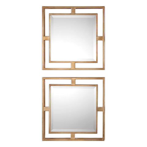 Allick Gold Mirror Squares, Set of 2 by Uttermost