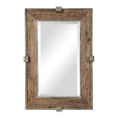 Siringo Weathered Wood Rustic Rectangular Wall Mirror by Uttermost