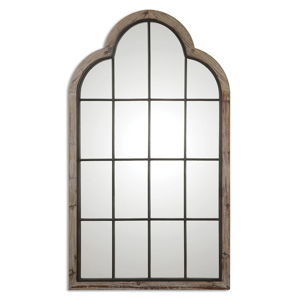 Gavorrano Oversized Reclaimed Pine Arched Windowpane Wall Mirror