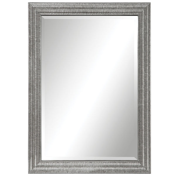 Alwin Transitional Silver Leaf Rectangular Wall Mirror