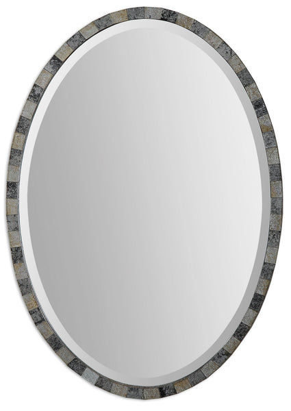 Paredes Transitional Mosaic Oval Wall Mirror