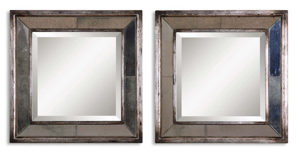 Davion Squares Silver Mirror, Set of 2 by Uttermost