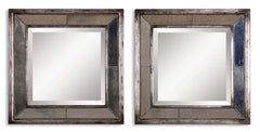 Davion Antiqued Silver Framed Mirror Squares, Set of 2 by Uttermost