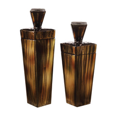 Lisa Decorative Brown Steel Containers, 2-Piece Set by Uttermost