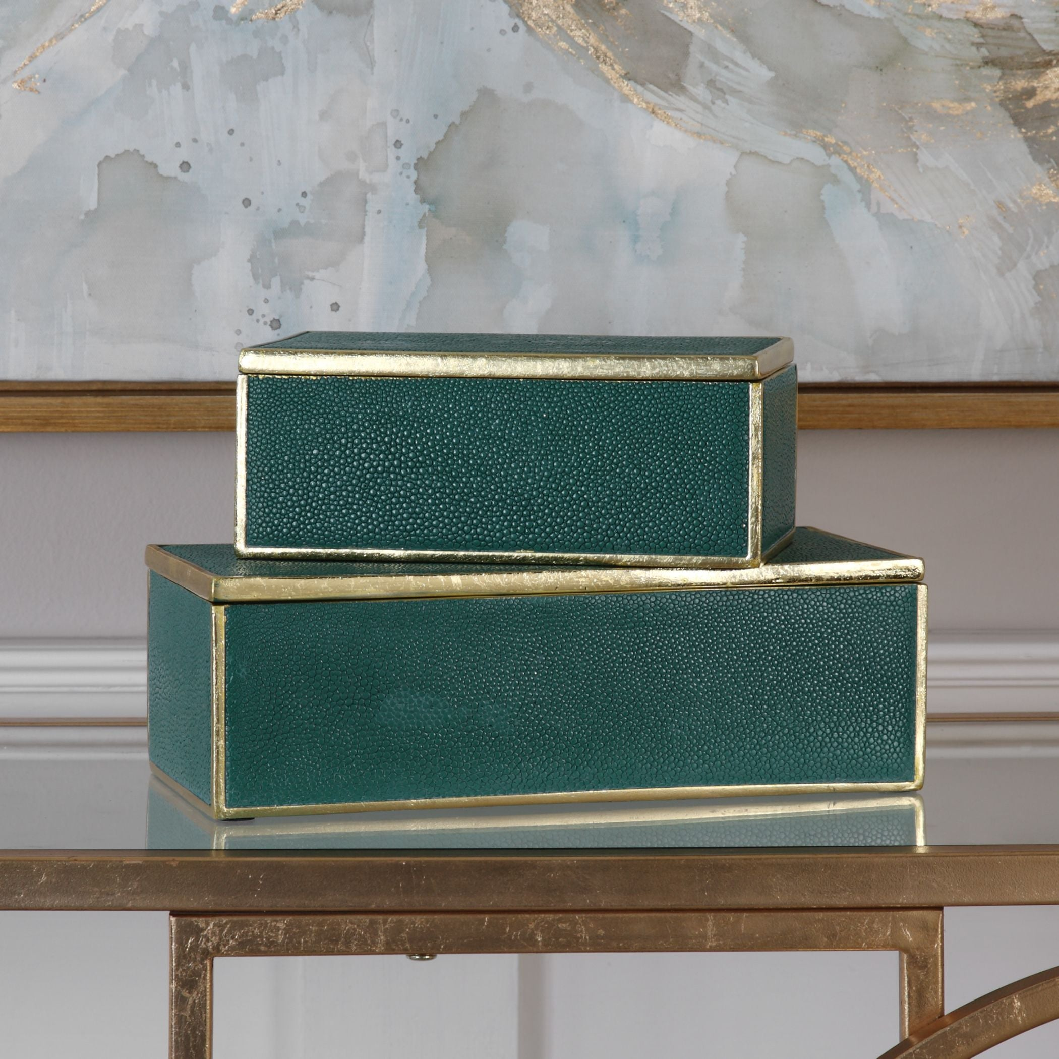 Karis Emerald Green and Gold Leaf Decorative Boxes, 2-Piece