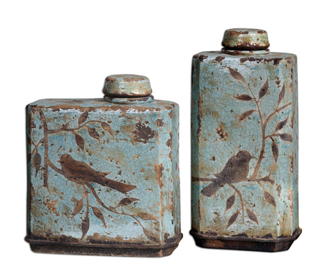 Freya Light Sky Blue Containers, 2-Piece Set by Uttermost