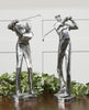Practice Shot Metallic Golfer Figurines, 2-Piece Set