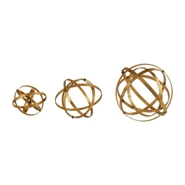 Stetson Decorative Gold Spheres, 3-Piece Set