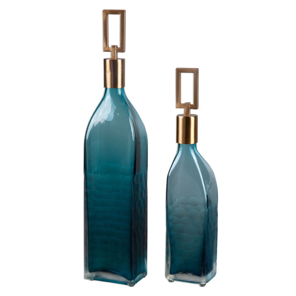 Annabella Transitional Teal Glass Decorative Bottles, 2-Piece Set