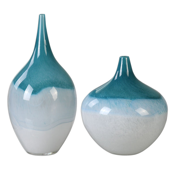 Carla Teal White Vases, 2-Piece Set