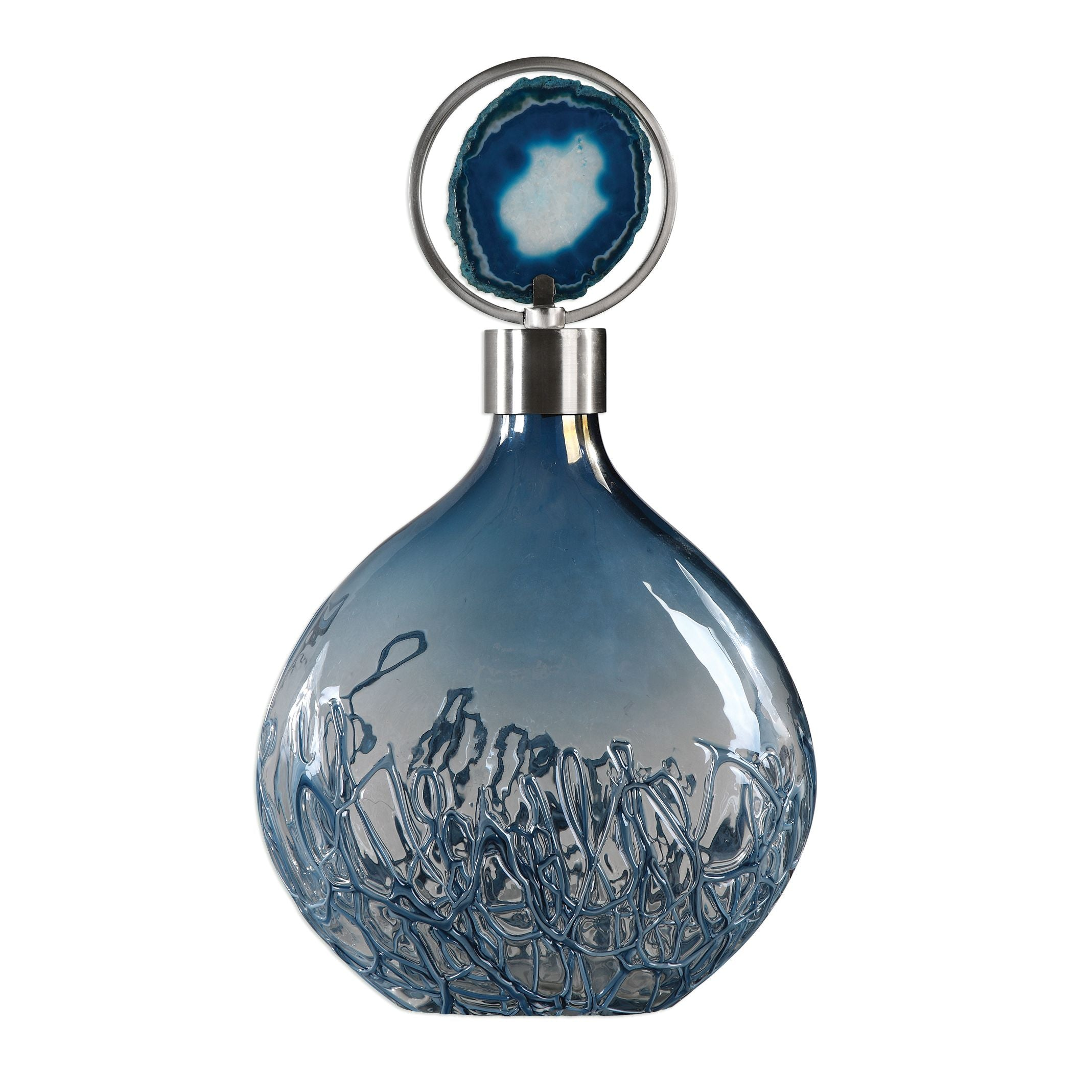Rae Sky Blue Iridescent Glass Decorative Bottle With Agate Stone By