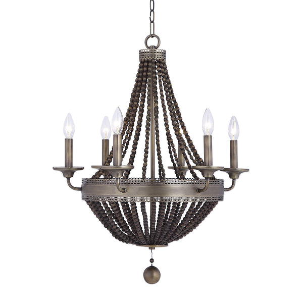 Thursby Transitional Aged Brass 6 Light Beaded Chandelier