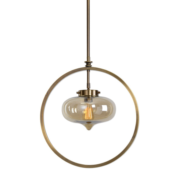 Namura Transitional 1 Light Brass Pendant Lighting Fixture by Uttermost