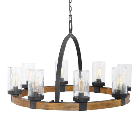 Atwood Modern Farmhouse 8 Light Wagon Wheel Chandelier by Uttermost