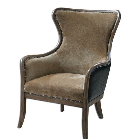Snowden Tan Wing Chair by Uttermost