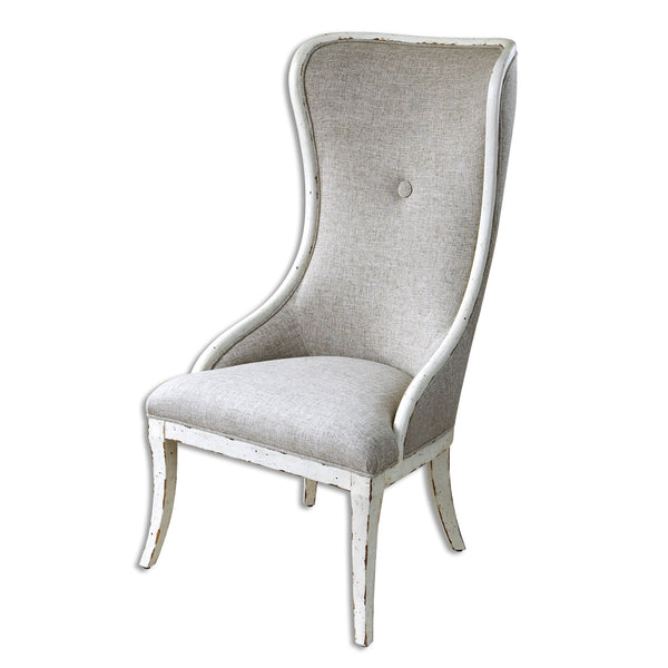 Selam Transitional Flax Linen Weathered White Painted  Wing Accent Chair
