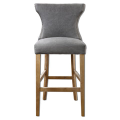 Gamlin Gray Linen Canvas Bar Stool by Uttermost
