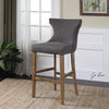Gamlin Transitional Gray Linen Canvas Bar Stool