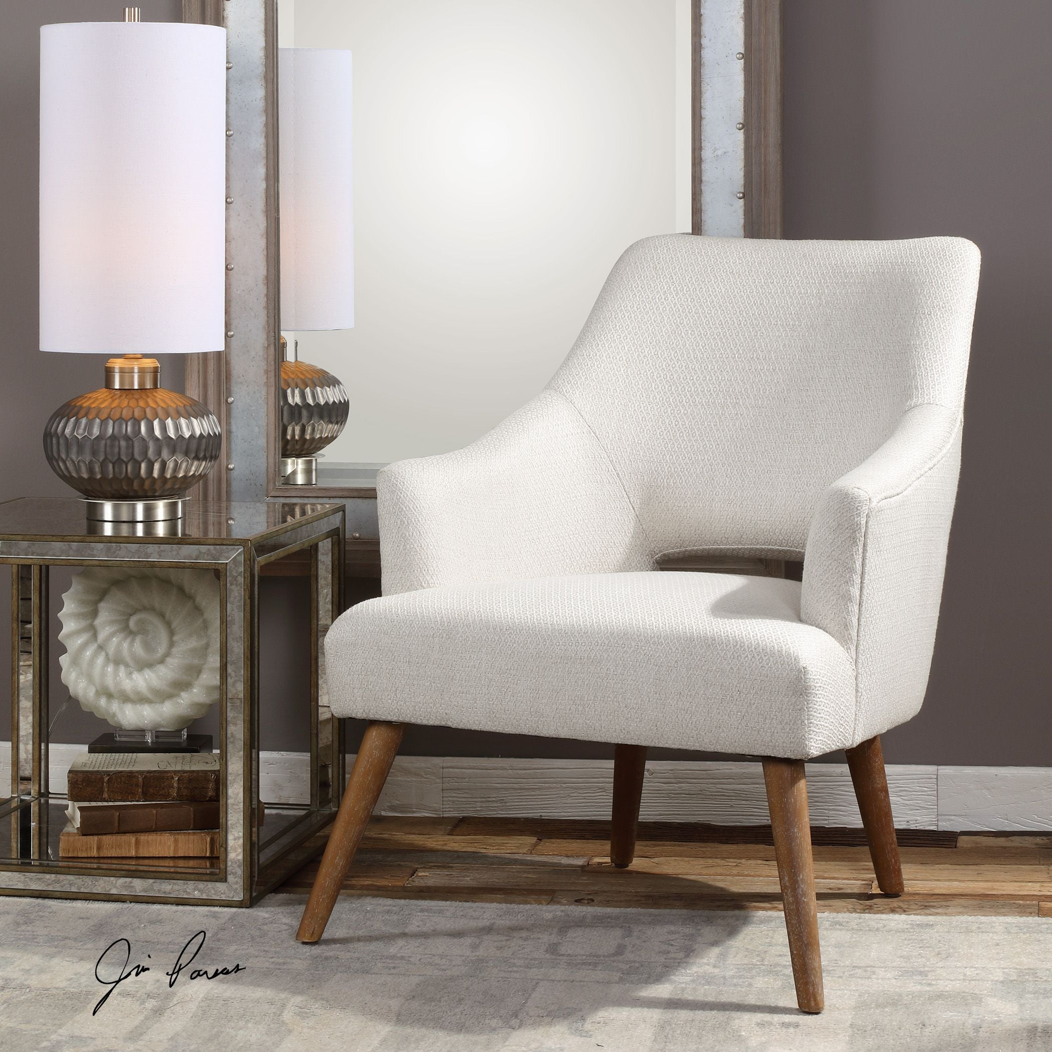 Dree Mid Century Off White Accent Chair By Uttermost Innovations