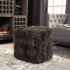 Jayna Charcoal Brown Faux Fur Cube Ottoman