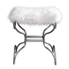 Channon Whimsical White Faux Fur Small Bench by Uttermost